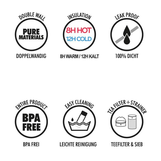 Travel Mug Vorteile, 600ml doppelwandig, dicht, bpa-frei, Tee Sieb, Teefilter, Deckel